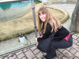 Britannia 6 July 2015 Edinburgh Joanne and penguin