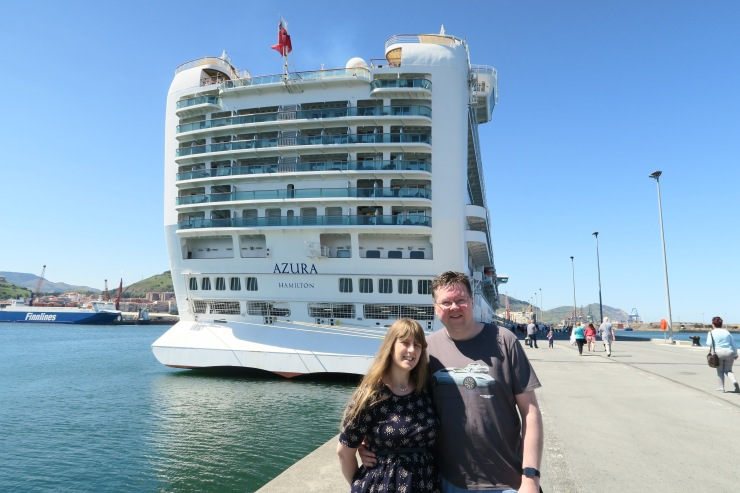 Bilbao - April 2017 - Joanne and Jason with P&O Azura in background