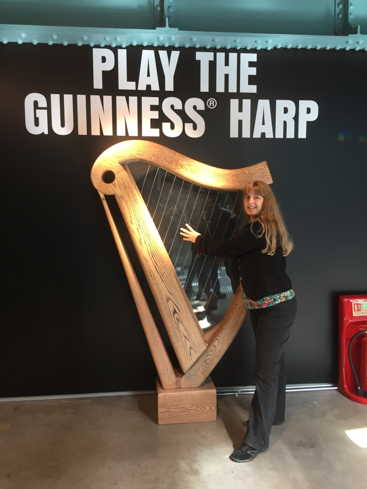 Dublin - July 2015 - Guinness Factory - Joanne and harp