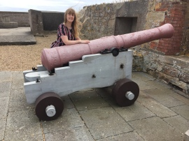 Britannia 6 July 2015 Guernsey museum Joanne and pink cannon