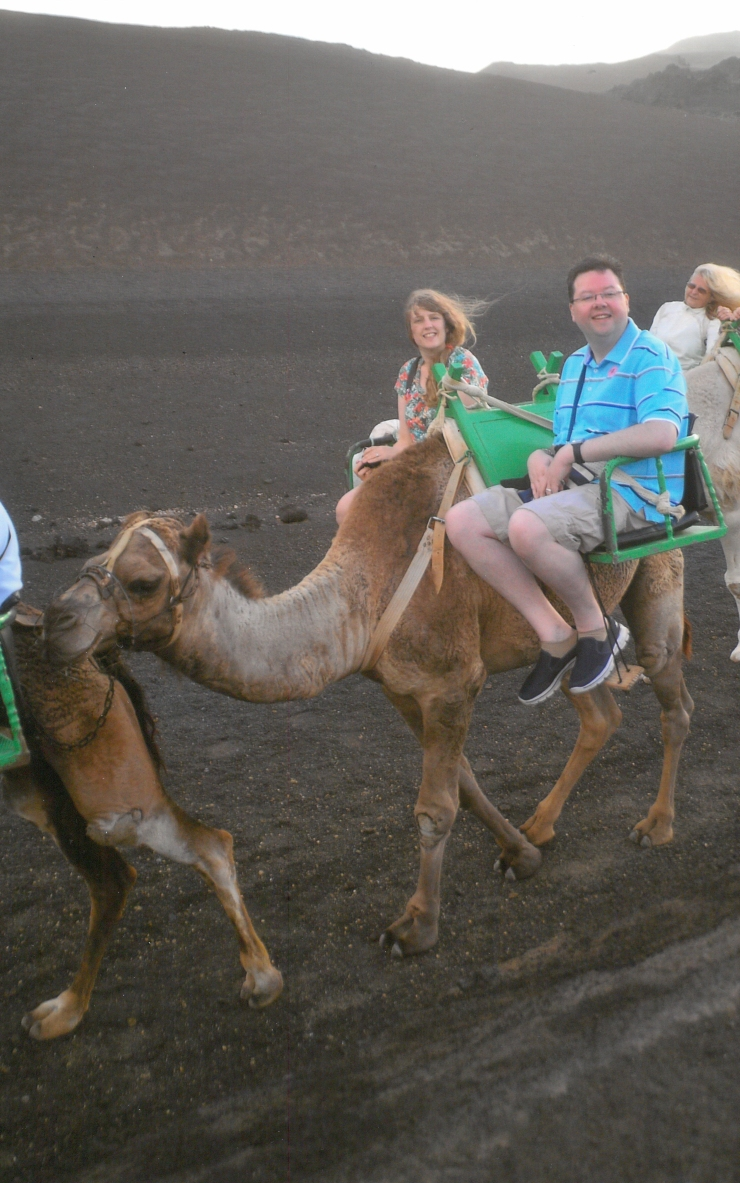 Lanzarote - September 2016 - Joanne and Jason camel