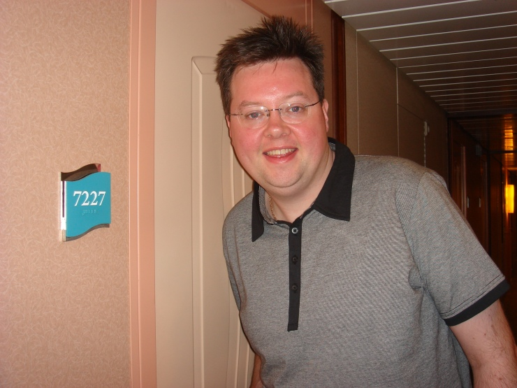 Voyager of the Seas - our cabin door 7227 with Jason