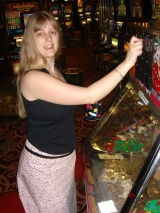 Voyager of the Seas - Joanne trying her luck at the casino