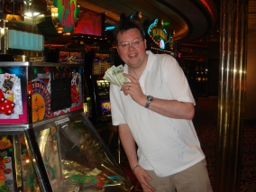 Voyager of the Seas - Jason and his winnings at the Casino