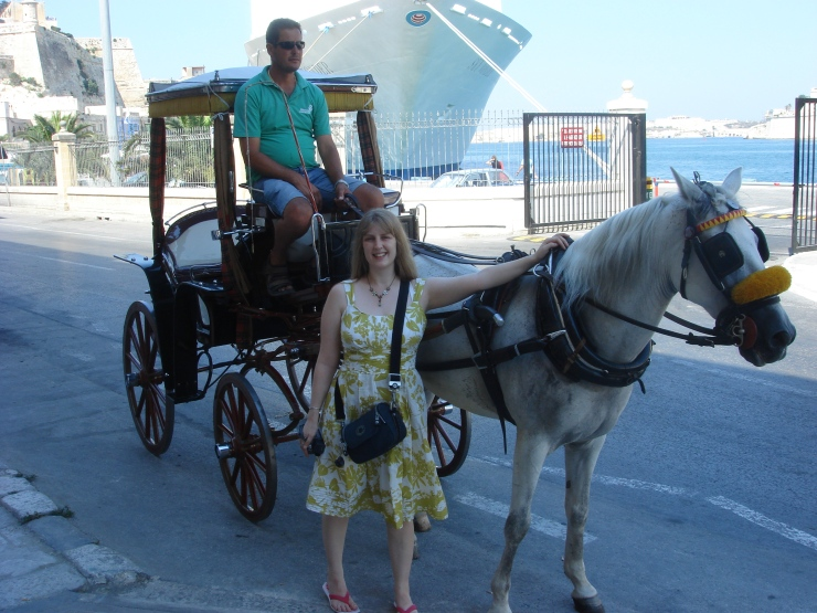 Voyager of the Seas - Joanne and a horse and cart