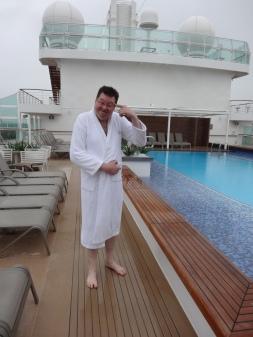 Britannia 6 July 2015 Jason in rain at pool