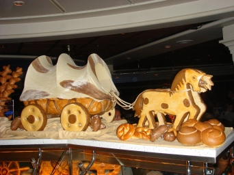 Voyager of the Seas - Midnight feast horse and cart out of bread