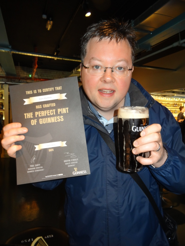 Dublin - July 2015 - Guinness Factory - Jason and her certificate for pouring perfect pint