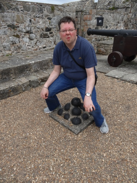 Britannia 6 July 2015 Guernsey war museum Jason and his cannon ball drop