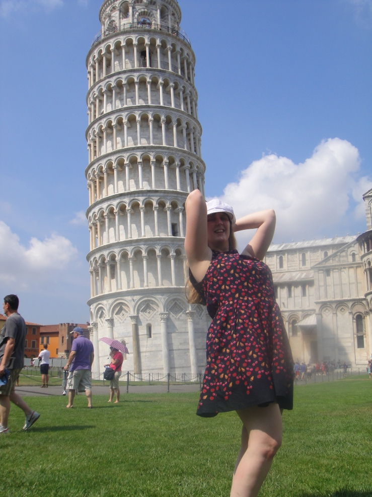 Livorno - July 2012 - Joanne leaning on The Leaning Tower of Pisa