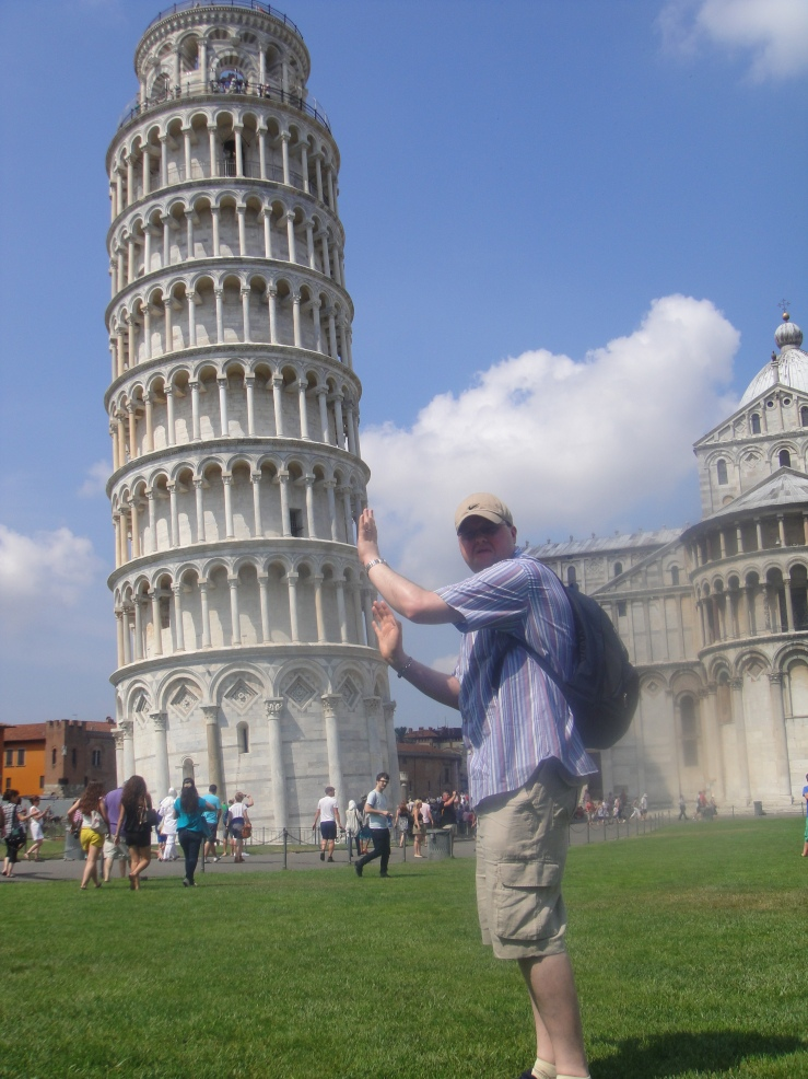 Livorno - July 2012 - Jason pushing The Leaning Tower of Pisa