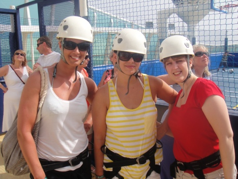 Independence of the Seas 30 June 2012 Caroline, Emma and Joanne rock climbing