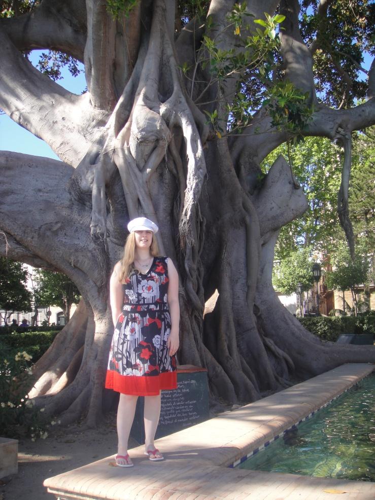 Cadiz - July 2012 - Joanne at tree