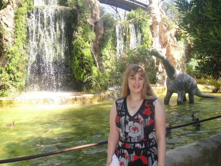 Cadiz - July 2012 - Joanne and dinosaur in Dinosaur Park