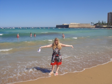 Independence of the Seas 30 June 2012 Joanne on beach