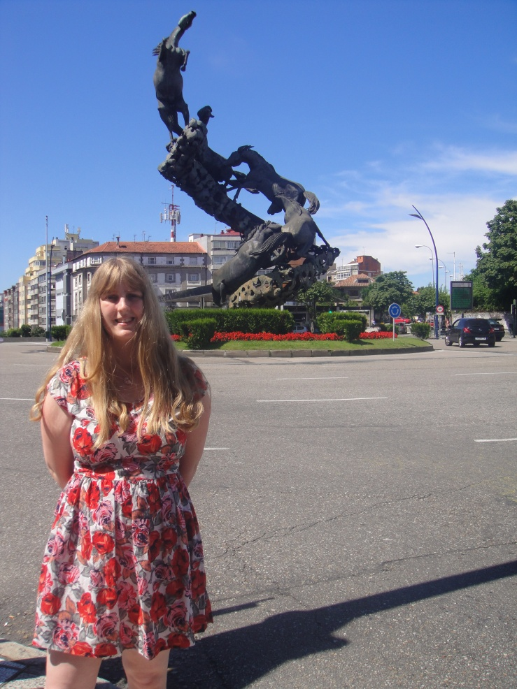 Vigo - July 2012 - Joanne and the famous horse statue