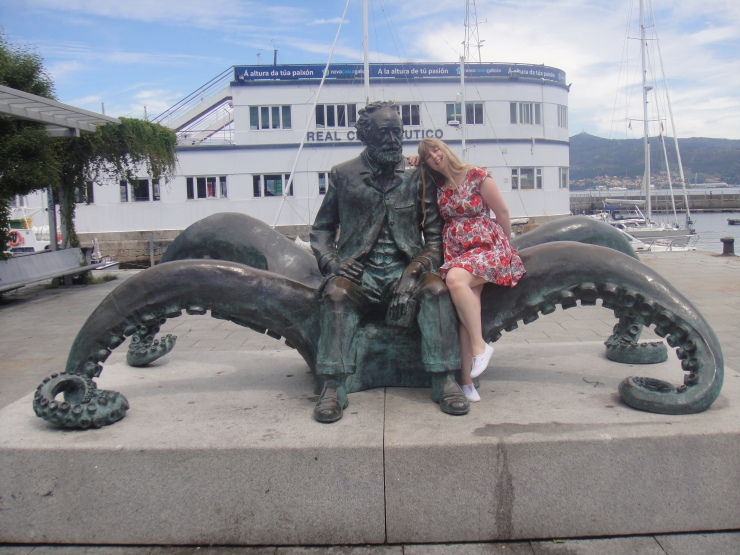Vigo - July 2012 - Joanne with the man on a octopus statue