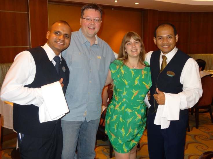 Oasis of the Seas Jason and Joanne with waiters
