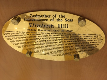 Independence of the Seas 9 September 2016 Godmother plaque