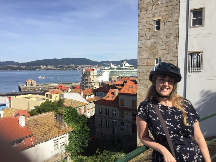 Vigo - September 2016 - Joanne with Independence of the Seas in the background