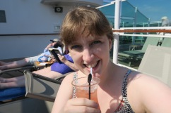 Britannia May 2016 Joanne and drink at pool
