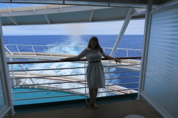Independence of the Seas 9 September 2016 Joanne on balcony
