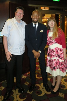 Independence of the Seas 9 September 2016 Jason, waiter and Joanne Chops Grille