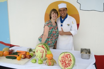 Independence of the Seas 9 September 2016 fruit carving session Joanne and chef