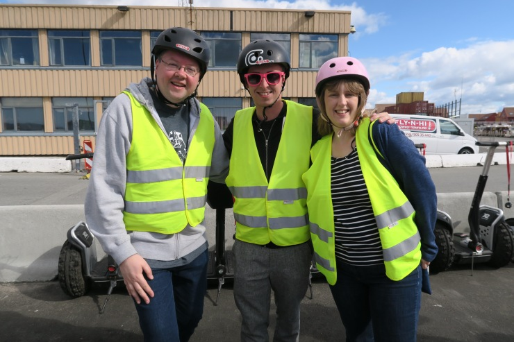 Kristiansand - June 2017 - Jason, Tom (entertainment staff) and Joanne getting ready for Segway