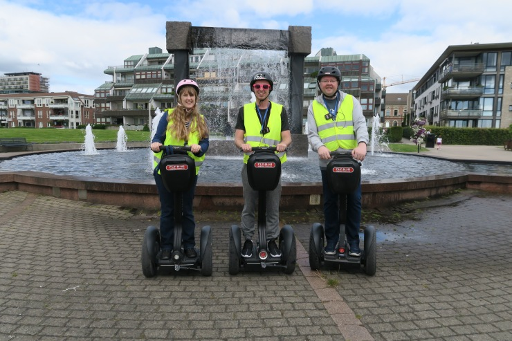 Kristiansand - June 2017 - Joanne, Tom (entertainment crew) and Jason on segways