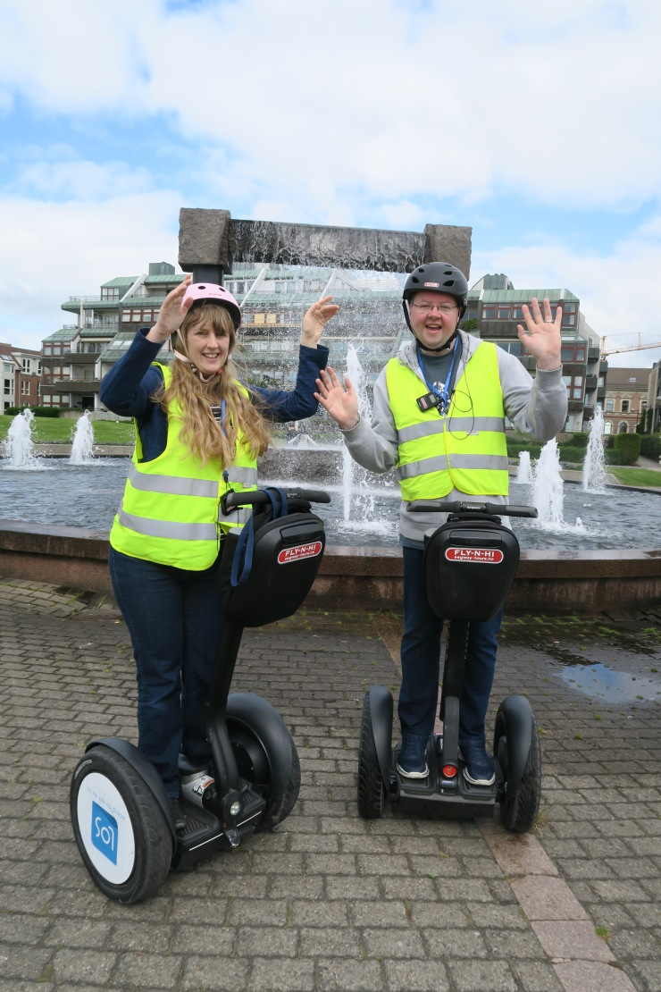 Kristiansand - June 2017 - Joanne and Jason on segway