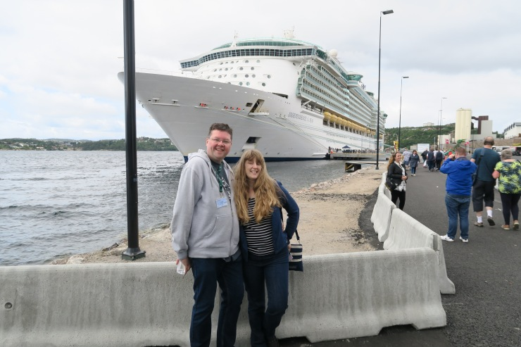 Kristiansand - June 2017 - Jason and Joanne with Independence of the Seas in the background