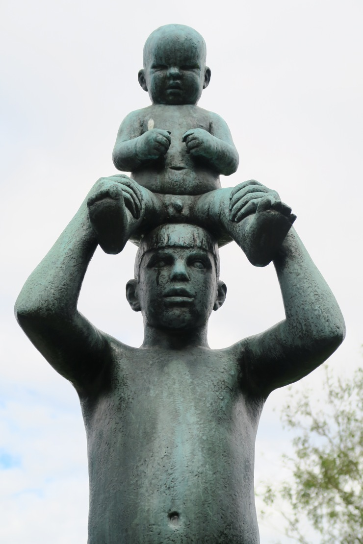 Oslo - June 2017 - The Vigeland Park man with baby on head