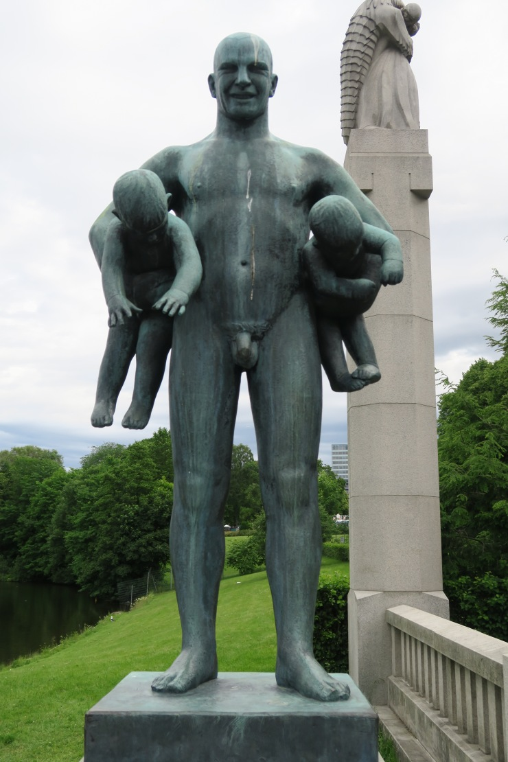 Oslo - June 2017 - The Vigeland Park man with babies under arms