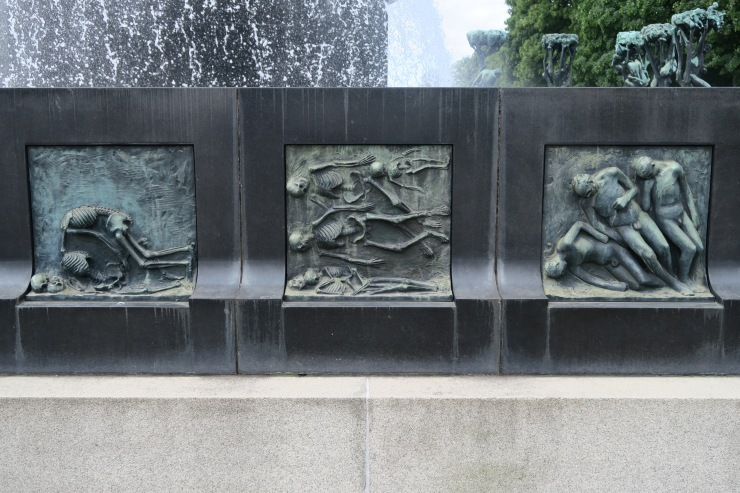 Oslo - June 2017 - The Vigeland Park fountain of tree of life plaques