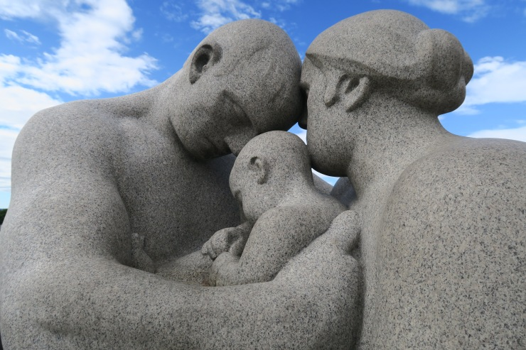 Oslo - June 2017 - The Vigeland Park dad, child and mum statue