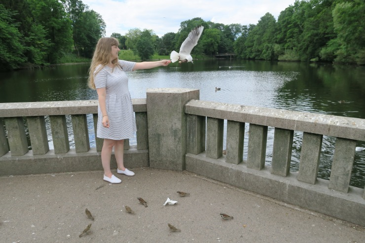 Oslo - June 2017 - The Vigeland Park Joanne feeding seagull