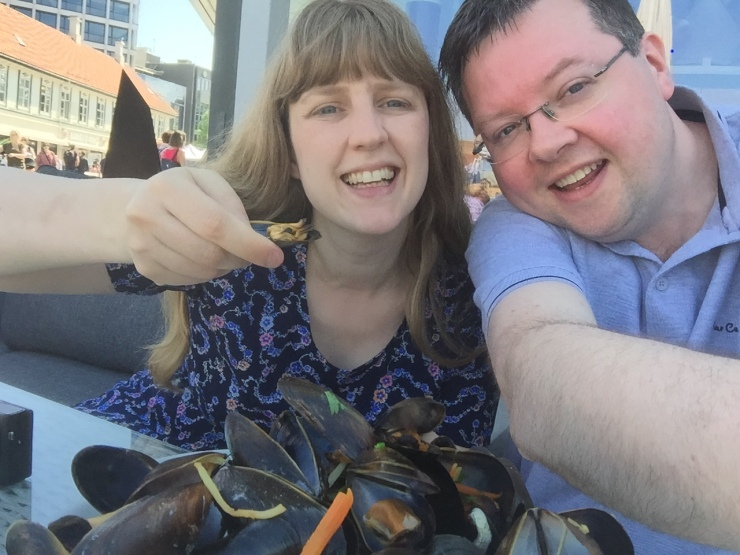Stavanger - May 2016 - Joanne and Jason with mussels