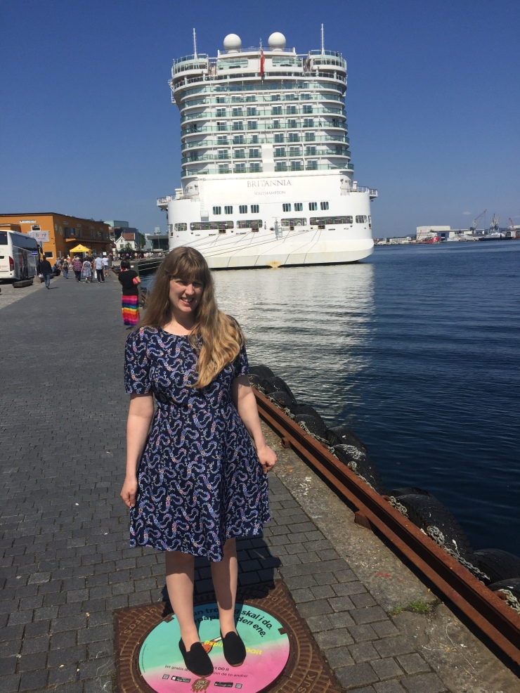 Stavanger - May 2016 - Joanne with P&O Britannia cruise in background