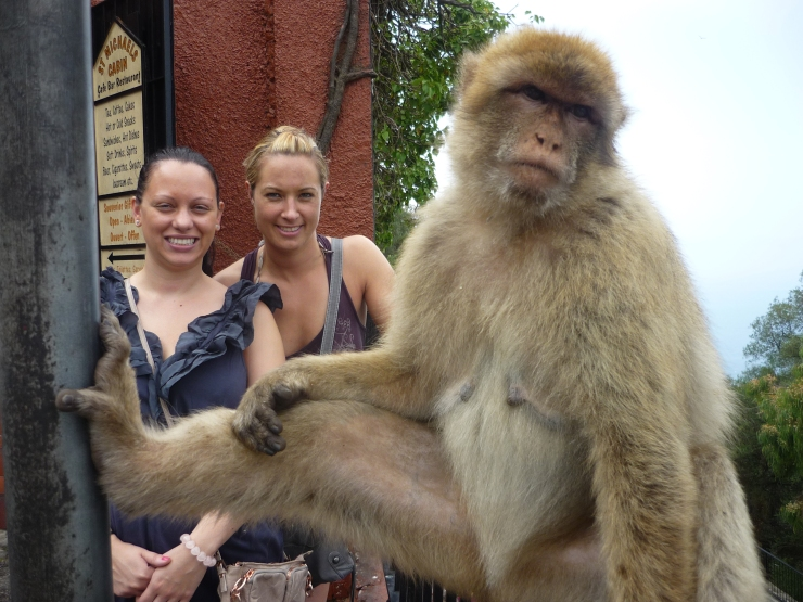 Gibralter monkey with Emma and Caroline