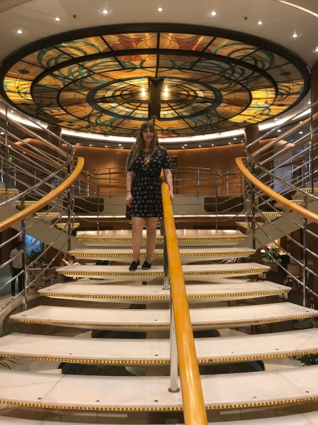P&O Oceana - Sept 2017 - Joanne on stairs in ship