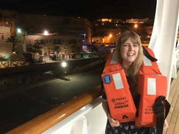 P&O Oceana - Joanne in her life jacket