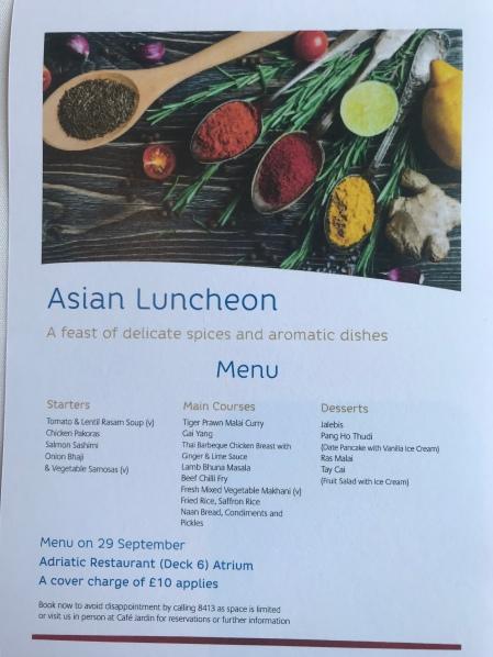 P&O Oceana - Asian Luncheon menu