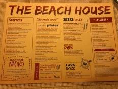 P&O Oceana - Sept 2017 - Beach House menu
