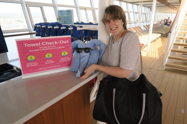 Symphony of the Seas - April 2018 - Joanne and towel animal at towel bar