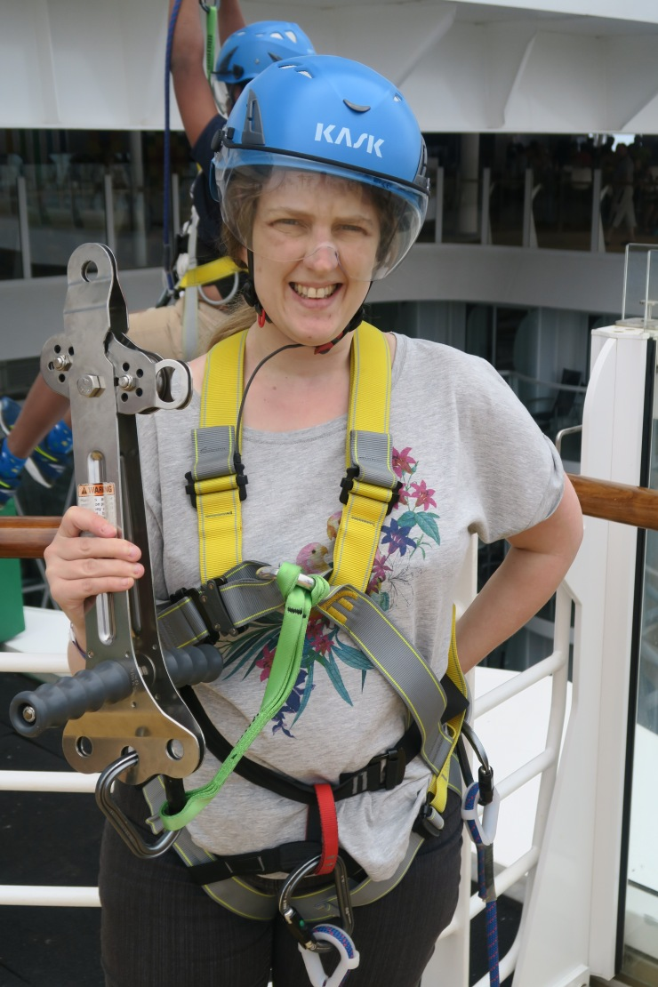 Symphony of the Seas - at sea April 2018 - Joanne ready for zip wire