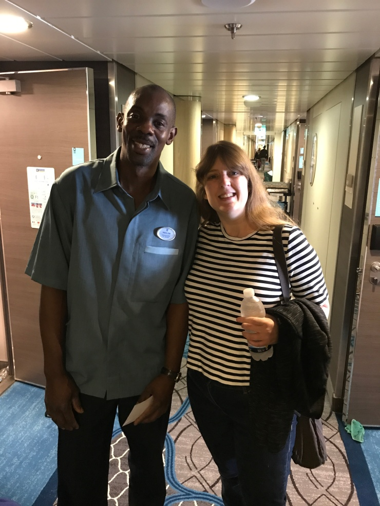 Symphony of the Seas - at sea April 2018 - Joanne and cleaner