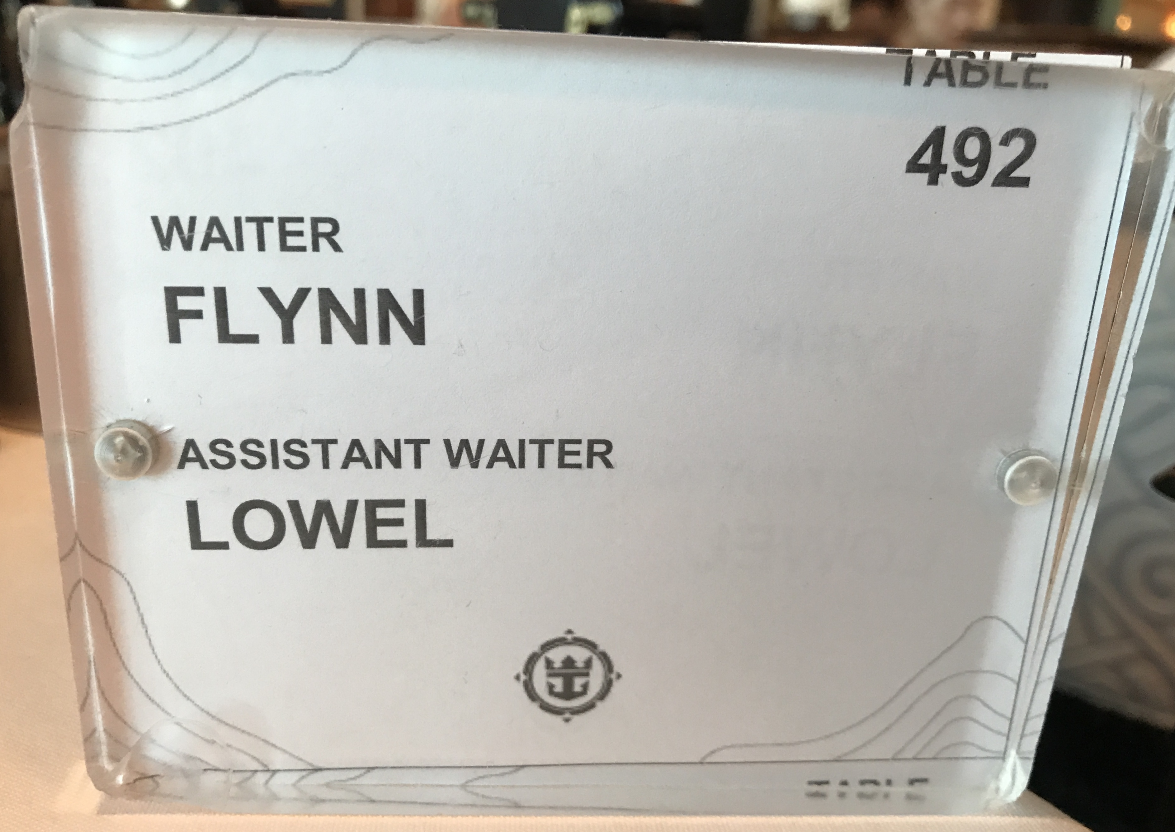 Navigator of the Seas September 2018 table number